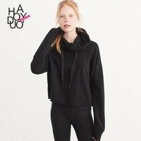 Haoduoyi modo di stile occidentale tessuto sottile colore solido sciolto manica lunga nero SML XL XXL della donna Casual Felpe Felpe con cappuccio