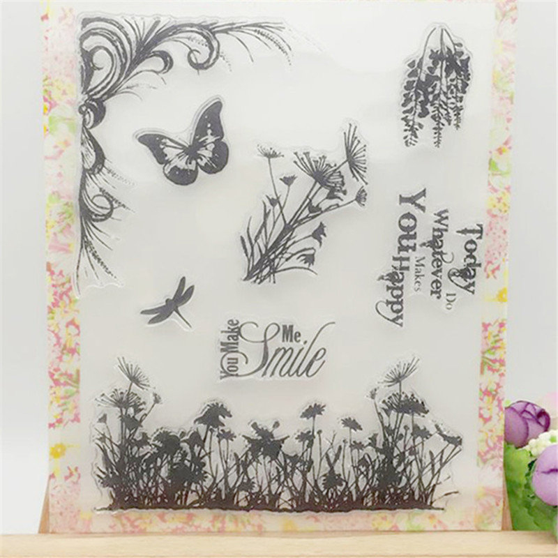 Grass Butterfly Dragonfly Transparent Clear Stamp DIY Silicone Seals Scrapbooking/Card Making/Photo Album Decoration Supplies loving heart and ballon transparent clear stamp diy silicone seals scrapbooking card making photo album craft cl 285