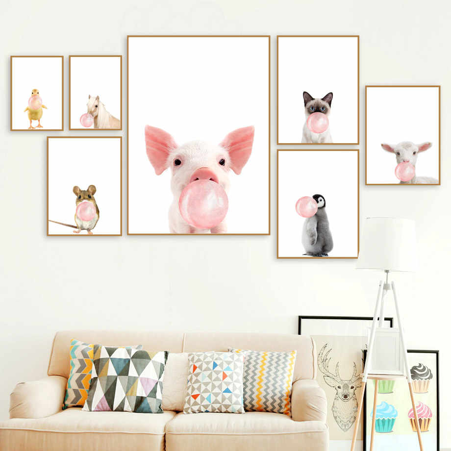 Cartoon Horse Cat Penguin Duck Mouse Balloon Wall Art Canvas Painting Nordic Posters And Prints Wall Pictures Kids Room Decor
