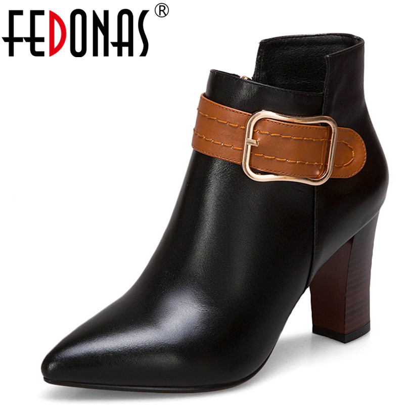 FEDONAS Fashion Women Ankle Boots Genuine Leather Large Size Autumn Winter Warm High Heels Shoes Woman Buckle Elegant Boots цена