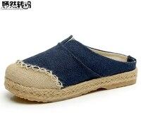 Women Slippers Thai Boho Cotton Linen Canvas Cloth Shoes National Handmade Woven Round Toe Flat Shoes