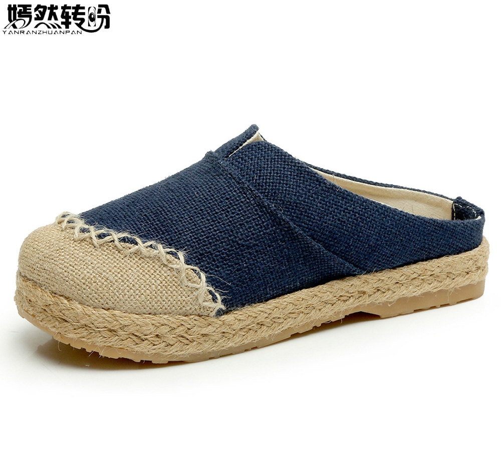 Women Slippers Thai Boho Cotton Linen Canvas Cloth Shoes National Handmade Woven Round Toe Flat Shoes 2017 new old beijing boho cotton linen canvas cloth shoes national thailand handmade woven round toe flat shoes with embroidered