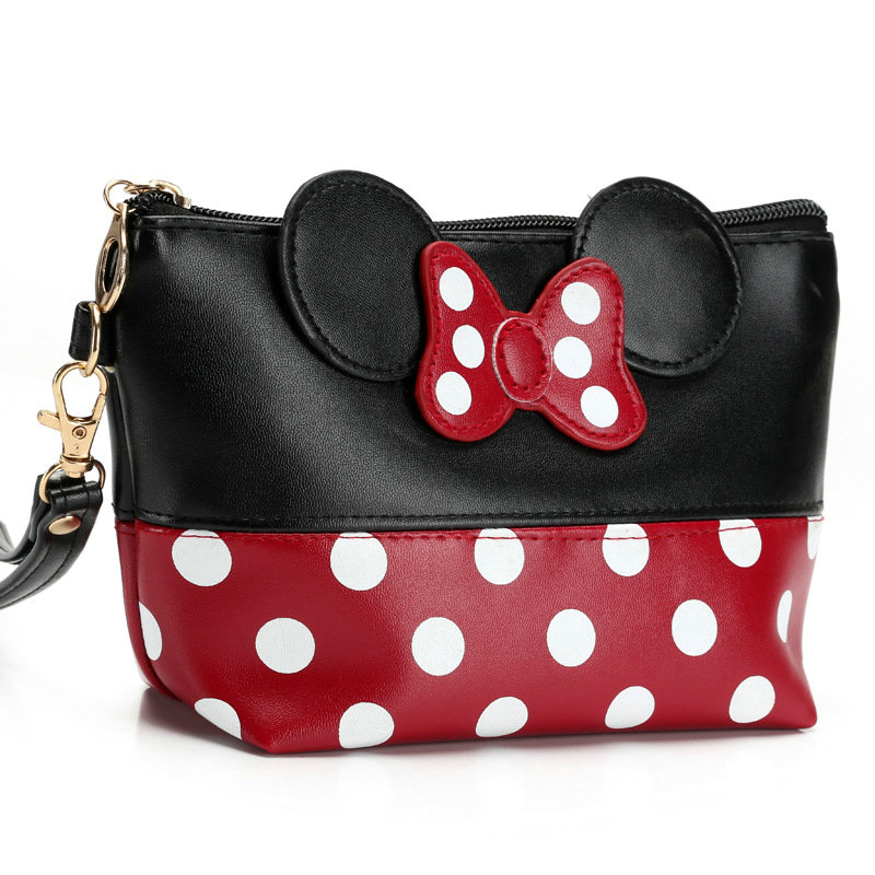 New Women Fashion Travel Cosmetic Bag Cartoon Bow Makeup Case Ladies Zipper Hand Holding Make Up Handbag