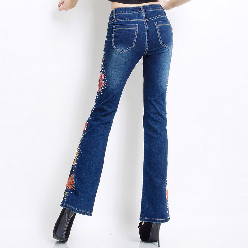 Élastique Femmes Bleu Étirement Broderie Femelle Couleur Jambe Jeans Grand De Avec Haute Large Droite Taille 0qRRBcHW