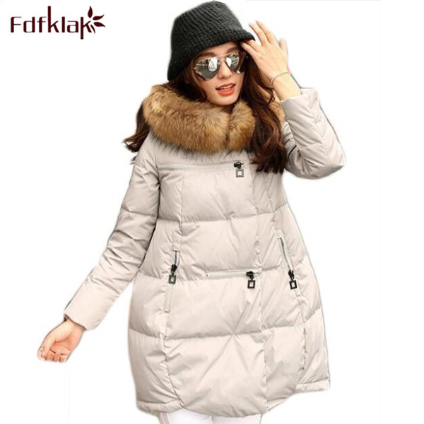 Women Brand 2018 New Fashion Long Winter Jackets Thick Ladies Coats Hooded Down Jacket   Parka   Plus Size Black/White S-4XL E0632