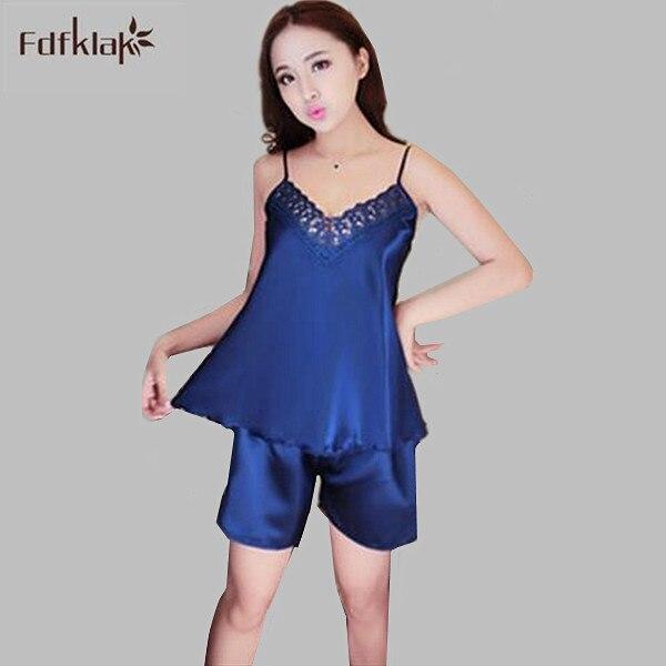 8304bffa825e4 Sexy V-Neck Rayon Silk Pajama Sets Women Lace Spaghetti Strap Sleeveless Sleepwear  Pajamas Summer Pijamas Pyjama Femme A683