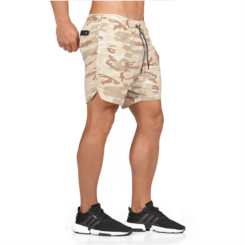 2019 Men's 2 In 1 Casual Secure Pocket Shorts Quick Drying Cool Men Gyms Joggers Brand Shorts Fake Two Pieces Built-In Pockets