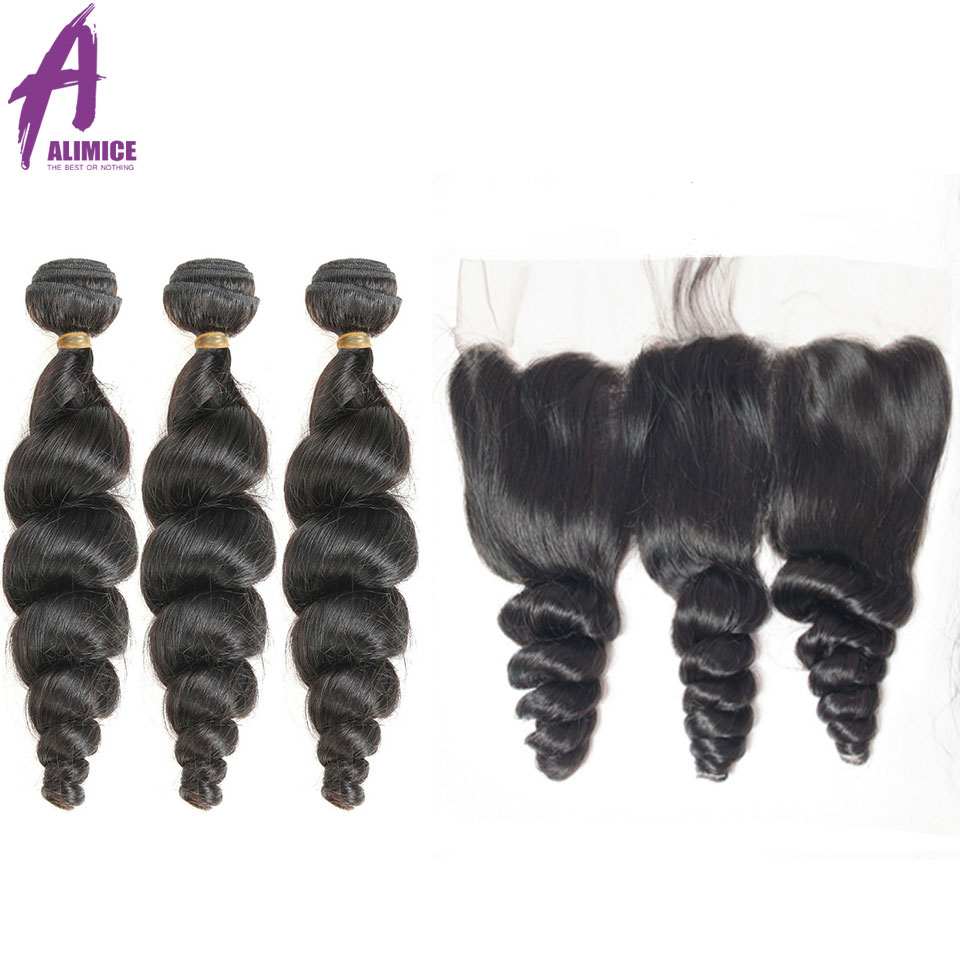 Malaysian Loose Wave Bundle With Closure 3 Bundle Human Hair Weave ALIMICE Hair Ear to Ear