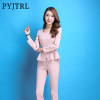PYJTRL New Autumn Elegant Women Pink Purple Ruffles Hem Long Sleeve Two Piece Set Suits Office