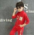 Новый 2 шт. Дети Мальчики Осень Одежда Устанавливает Пуловер + Брюки Подростки Мода Roupas Menino Дети Модные Трикотажные Одежда