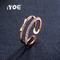 IYOE Роуз Позолоченные Открытой Формы Лук Кольца Последние Круглый Cut CZ Кристалл Midi Костяшки Кольца Для Женщин