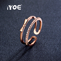 IYOE Rose Gold Plated Open Shape Bow Rings Latest Round Cut CZ Crystal Midi Knuckle Rings For Women