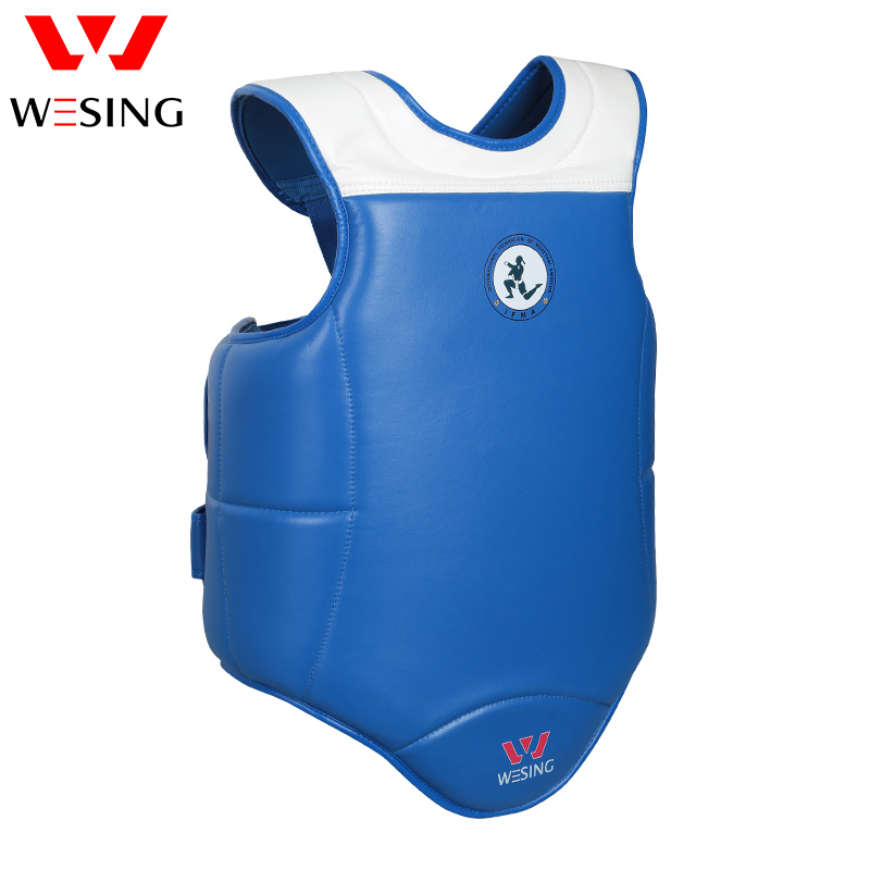 WESING muay thai boxing chest guard muay thai body shield micro fiber pu chest protector blue red wesing aiba approved boxing gloves 12oz competition mma training muay thai kickboxing sanda boxer gloves red blue