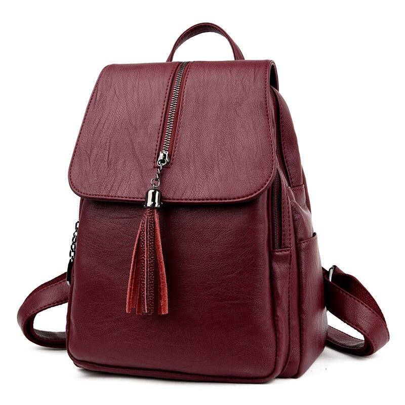 Nouveau femmes PU cuir sac à dos minimaliste solide noir haute qualité gland sacs pour adolescents filles preppy style chaîne sacs à dos