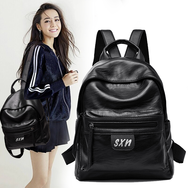 Aoeo Fashion Women Backpack For Girls Teenage Youth Japanese Schoolbag Travelsolid Color Waterproof Pu Student School Bags