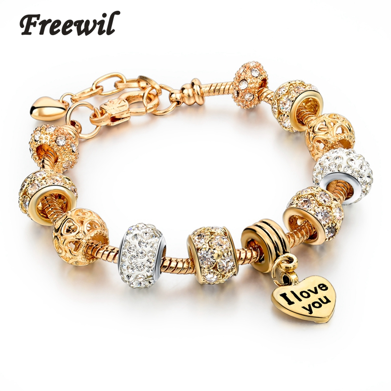 Hot Selling 2016 Heart Charm Bracelets & Bangles Gold Bracelets For Women DIY Pulsera Famous Brand Jewellery SBR150074