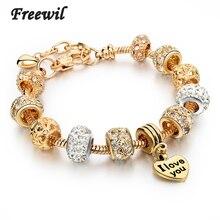 2015 Best Gift Gold Love Heart Charm Bracelet Plated Snake Chain Shine&Hollow Beads Strand For Women SBR150074