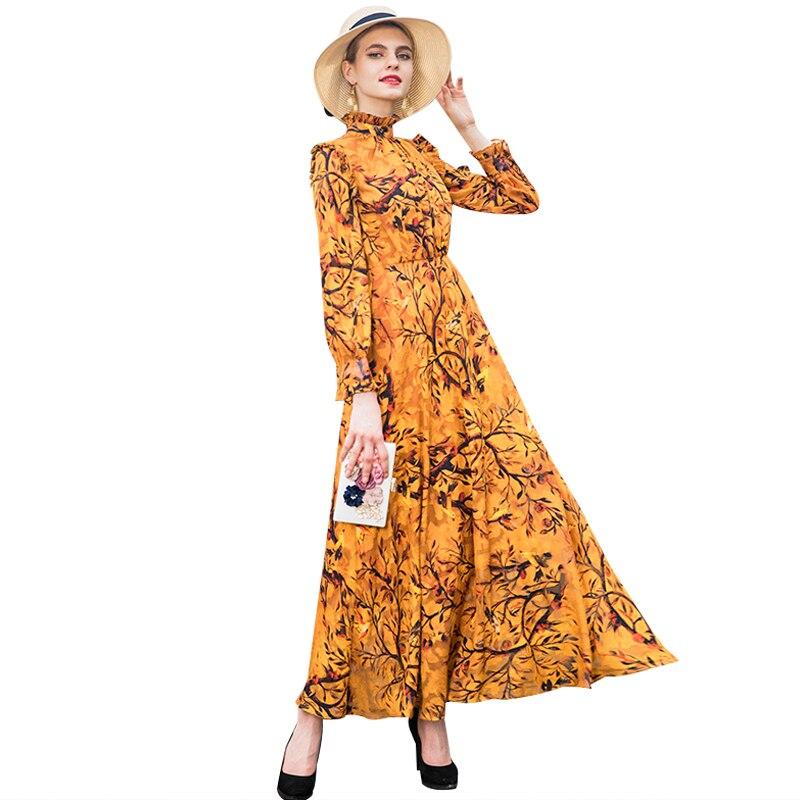 Robe fantaisie automne luxe Vintage en mousseline de soie soirée longue robe grande taille imprimé manches longues nuit Maxi robes soirée 6941