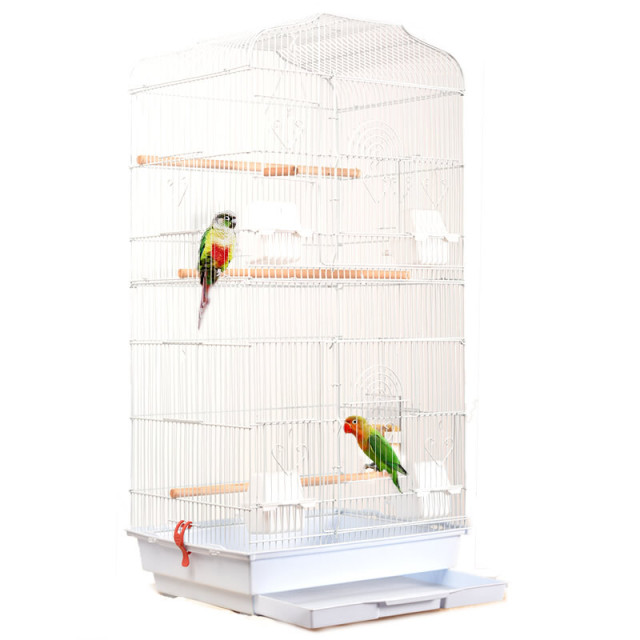 Foldable Metal Parrot Villa Bird Cage Thrush Starling Parrot Cage Three-story Heightened Bird Building Upgraded Version 46*36*93 1