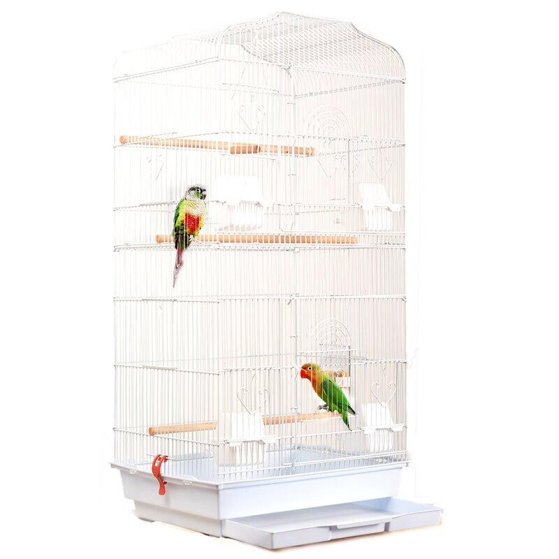 Pliable métal perroquet Villa oiseau Cage muguet Starling perroquet Cage trois étages rehaussé oiseau bâtiment Version améliorée 46*36*93 - 2