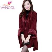 Manto Coats Vancol 2016 New coréia assimétrica comprimento jaqueta de manga Batwing inverno solto Plus Size mulheres de pele colarinho casaco de malha