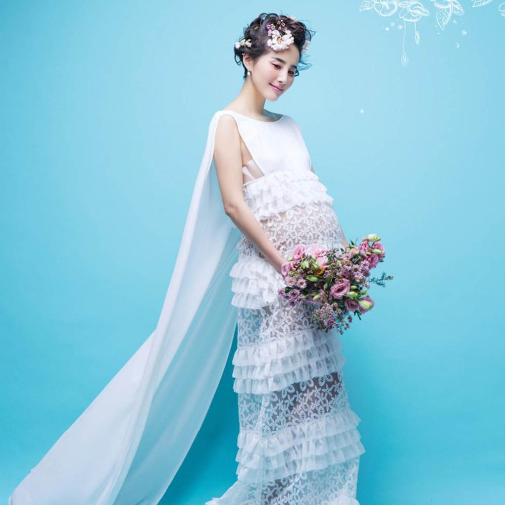 Pregnancy Elegant Fancy White Lace Maternity Photography Props Dresses Pregnant Women Photo Shoot Long Dress Clothes rq elegant maternity dress photography props long dress pregnant women clothes fancy pregnancy photo props shoot q83