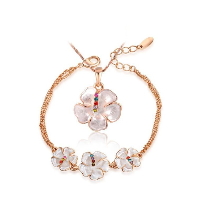 Women Girl Brand Simple Cheap Fashion Jewelry Set Gift Rose Gold