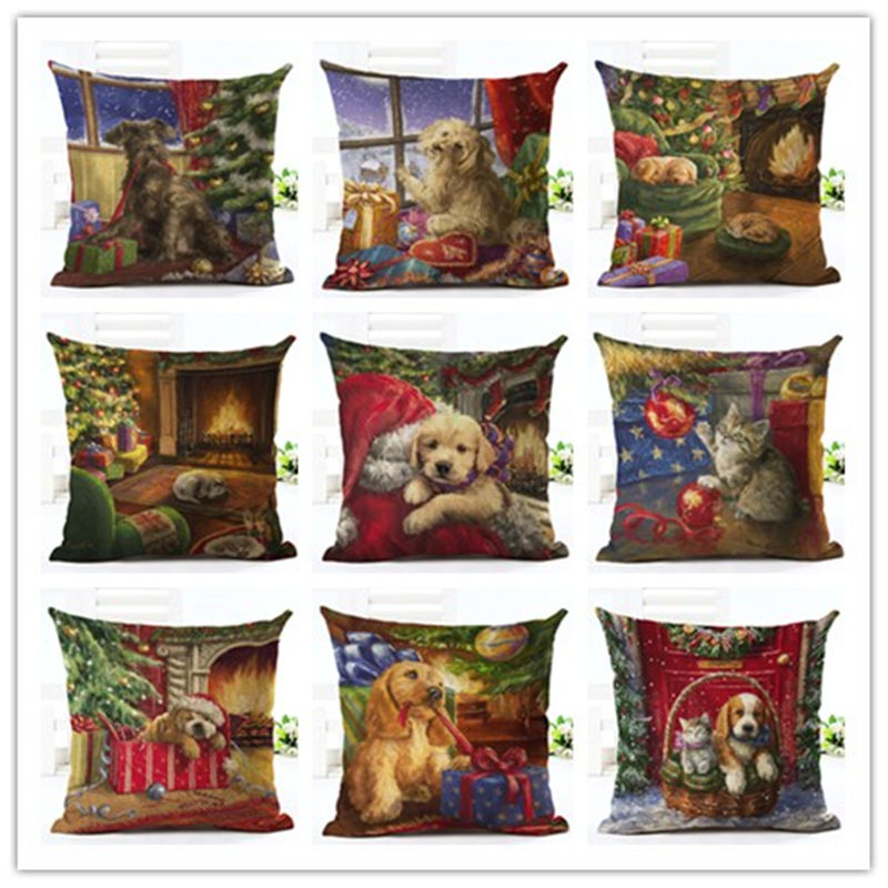 2016 Hot Selling Christmas Cute Dogs Home Decorative Sofa Cushion Throw Pillow Case Cotton Linen Square Pillows