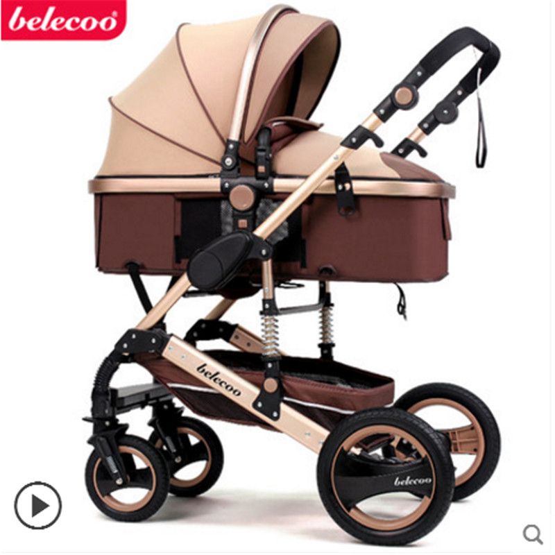 Belecoo baby stroller 2 in 1 stroller lie or damping ...