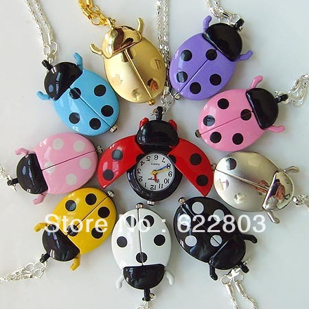 10 Color fashion Cute Ladybug Quartz Pocket watch Necklace Brand New reloj de bolsillo