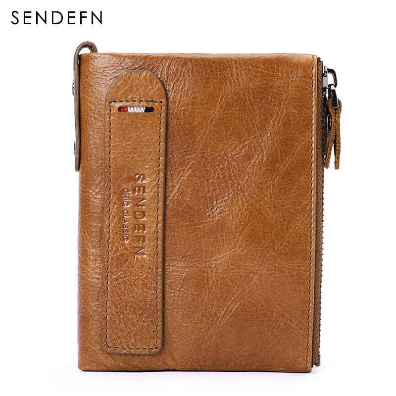 SENDEFN топ из натуральной кожи мужской кошелек короткий Мужской кошелек из воловьей кожи маленький кошелек на молнии дизайн с 2 Карманный Кошелек для монет 5203-65