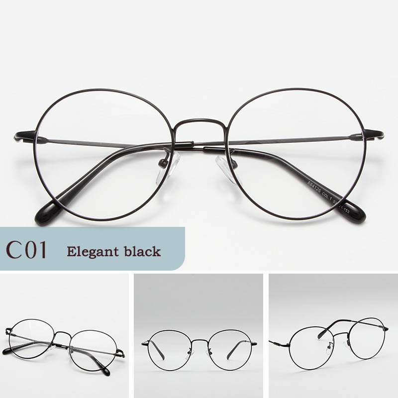 New literary round glasses frame retro women 39 s tide flat mirror metal glasses frame fashion myopia men 39 s glasses in Women 39 s Sunglasses from Apparel Accessories