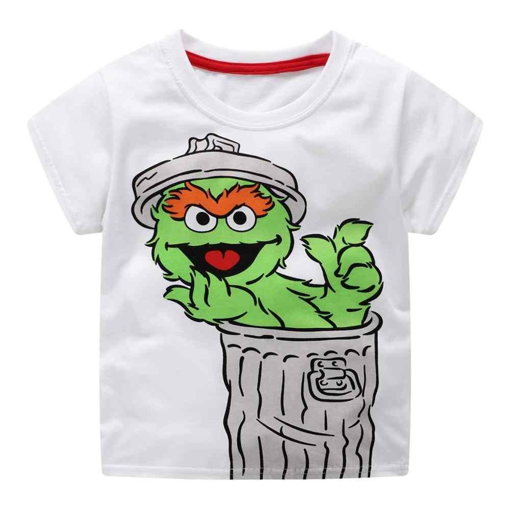 Littlemandy/2019 рубашка Топы для малышей, летняя одежда 100% Детские футболки для мальчиков детская одежда с короткими рукавами elmo sesame street