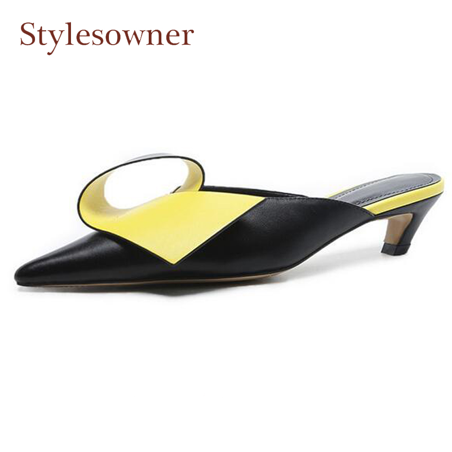 Stylesowner fashion mixed color women spring summer slippers pointed toe kitten heel mules shoes ladies outside wear slides цена