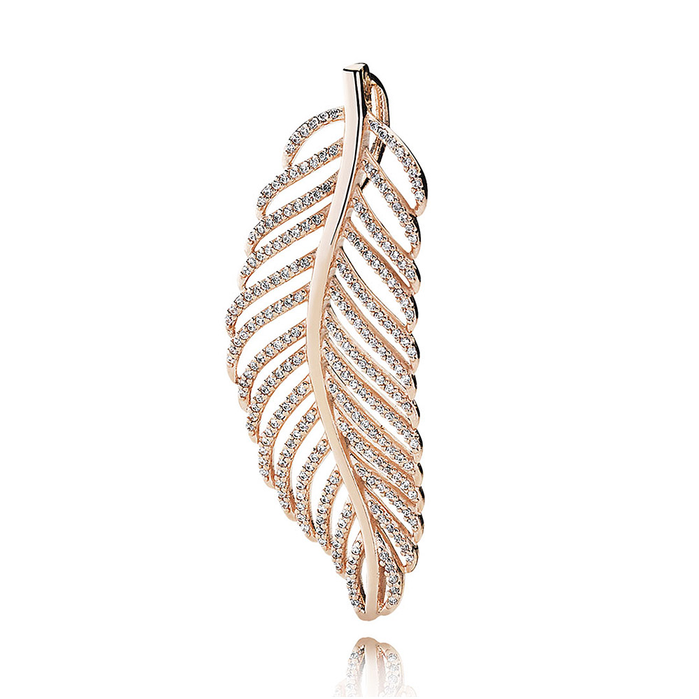 Rose Gold Light As A Feather With Crystal Necklace Pendant Fit Pandora Bracelet 925 Sterling Silver Bead Charm Diy Jewelry roxy light as a feather