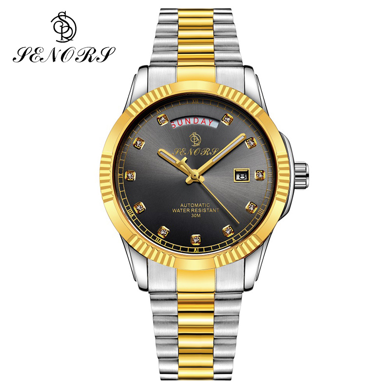 SENORS Luxury Roles Gold Silver Automatic Mechanic Watch Men Male Clock Date Function Solid Stainless Steel Band Auto Self-Wind tevise auto date automatic self wind watches stainless steel silver gold black watch men mechanical clock 9017 with box