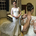 Honey Qiao Elegant Long Mermaid Wedding Dresses 2017 New Scoop Half Sleeve Bridal Dresses Covered Button Back Applique