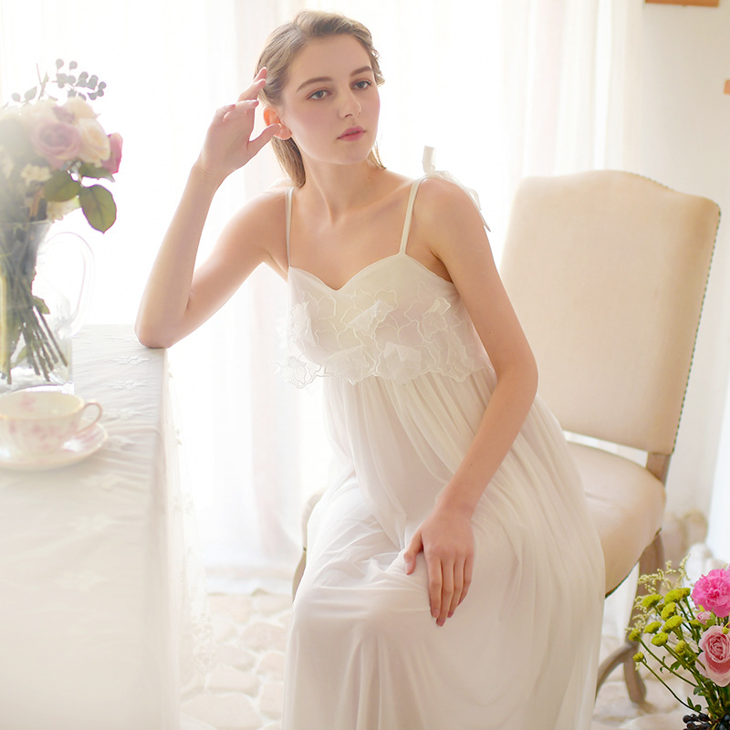 Womens Lace Vintage Victorian Spahetti Strap Nightgown Ladies Cotton Mesh Long Sleeveless Sleep Dress