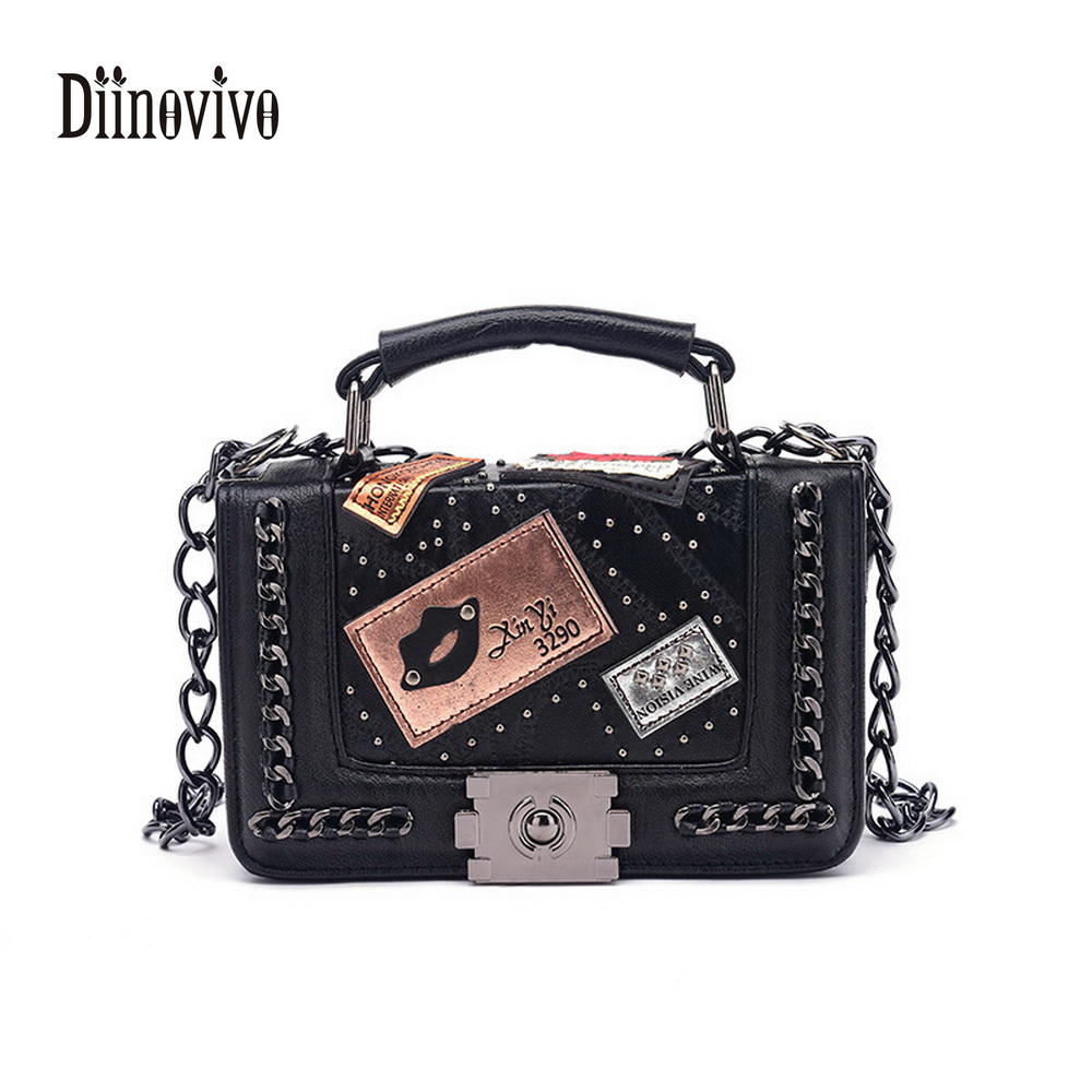 DIINOVIVO New Luxury Leather Messenger Bag Badge Design Chain CrossBody Bag Rivet Lock Women Bags Fashion Shoulder Bags WHDV0003