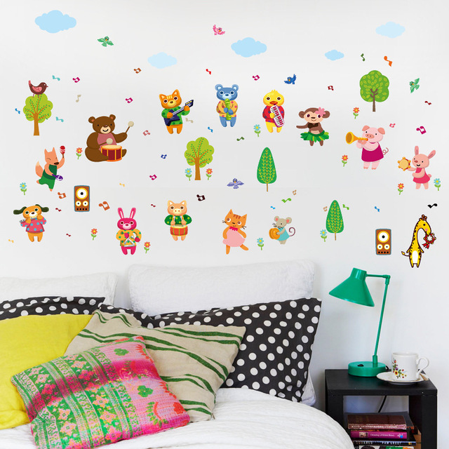 cartoon animal band wall sticker infant children's room kindergarten