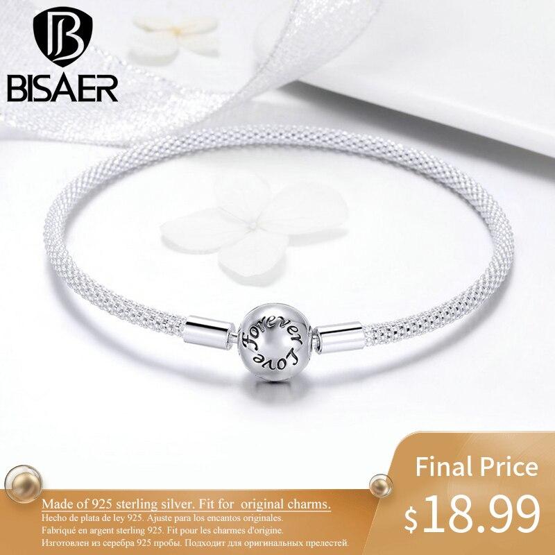BISAER Silver Charm Bracelet pour les Femmes La Fabrication de Bijoux 925 Sterling Argent Bracelet pour Perles 925 D'origine Fine Bijoux GXB105