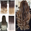 Fashion NEW Ombre hair extensions Long Straight Dip Dye Clip in Hair Extension Black Brown Blonde Red Gray for human