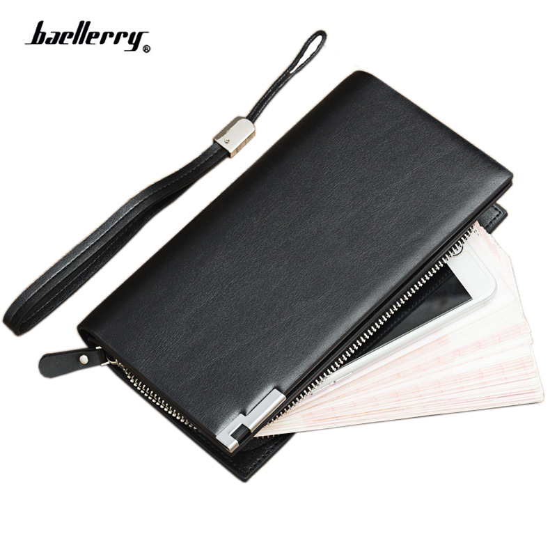 Beallerry 2017 Luxury Brand Men Wallets Long card Purse for man Male Clutch Leather Business Wallet phone bag with Coin pocket leinasen brand men wallets with coin pocket zipper double zipper male wallet long large men purse coin clutch bag black business