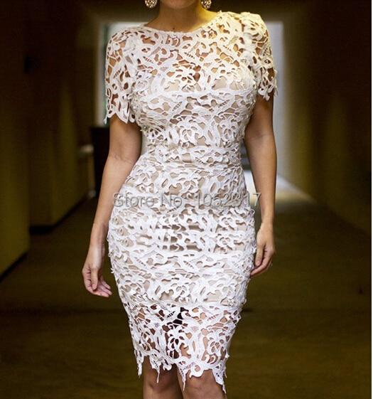 elegant woman knee length white lace dress plus size for women
