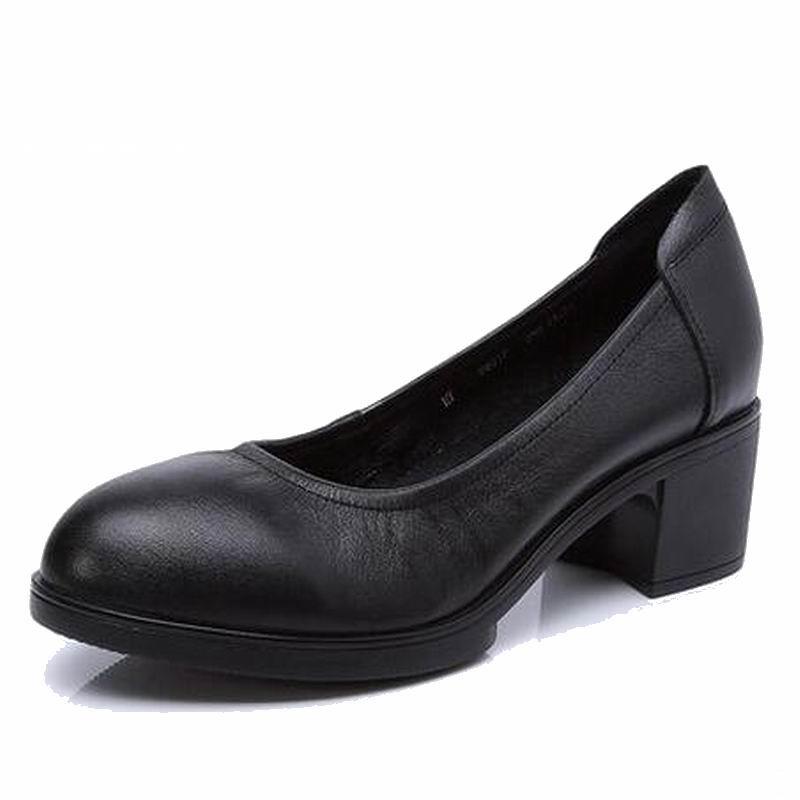 De Cuir 41 noir 34 gris Noir Pompes Beige Chaussures Q8017 Travail Femelle Confortable Talons Hauts En Femmes Ol Véritable wSqPEE
