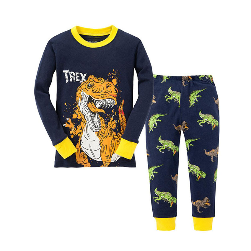 Long Sleeve Kids Pajamas Sets for Boys Dinosaur Baby Sleepwear Infant Baby Toddler Children's Pajamas Clothes Suit for 2T-7T 2015 new arrive super league christmas outfit pajamas for boys kids children suit st 004