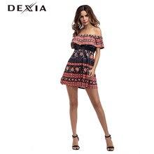 8aa4ac6da Dexia 2018 fuera del hombro Sexy vestido De verano femenino Ruffles Loose  Casual Vestidos De Fiesta Cortos elegante Mini Vestido.