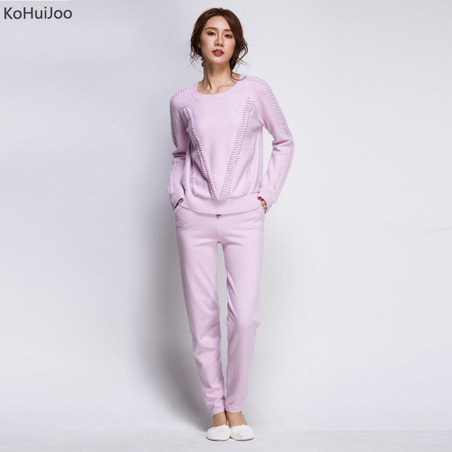 Kohuijoo Spring Womens Long Sleeve Knitting Suit Casual Sweater