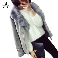 2016 Winter Jacket Wone New Suede Lambs Wool Locomotive Real Rabbit Fur Collar Long Sleeve Korean Style Warm Slim 3 Colors KATB1