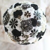 Black & White Wedding Bouquet Custom Bridal roses bouquet bride's crystal Brooch Bouquet Wedding floral decoration